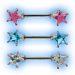 Double Jewelled Nipple Piercing Barbell - Stars