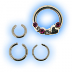 Septum Captive Bead Ring with Heart and Gem Circles