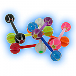 Set of 7 Acrylic Star Ball Effect Tongue Bars