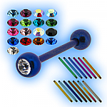 Coloured Titanium Jewelled Tongue Bar Studs