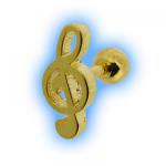 Gold Plated Treble Clef Ear Stud Musical Ear Jewellery