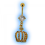 Gold Plated Crown Dangly Belly Bar
