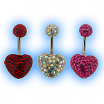 Resin Covered Disco Heart Belly Bar