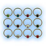 1.6mm (14g) Polished Titanium Ball Closure Ring - Jewelled Ball