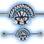 Aztec Face Industrial Barbell for Scaffold Ear Piercing