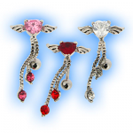 Heart with Angel Wings Top Dangle Belly Bar