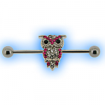Industrial Barbell with Jewelled Owl for Scaffold Ear Piercing