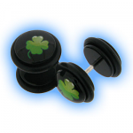 Acrylic Fake Ear Plug - Lucky 4 Leaf Clover