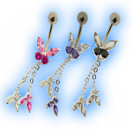 Elegance Belly Bar - Butterfly Trio