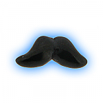 Black PVD Screw On Moustache - 1.6mm (14g)