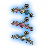 Upper Ear Stud Tragus Bar 5 Jewelled Bar