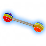 Steel Straight Barbell & Acylic Rainbow Balls - 1.6mm (14G)