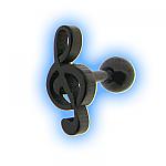 Black Treble Clef Ear Stud Musical Ear Jewellery