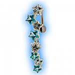 Reverse Belly Bar with Clear and Aqua Star Cascade Top Dangle