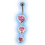 Silver Encased Pink Heart Trio Belly Bar