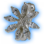 Clip on Belly Ring Clear Jewelled Sunflower