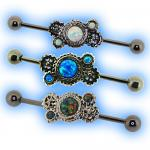 Industrial Barbell with Steampunk Gears Opal Gem