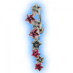 Reverse Belly Bar with Clear and Pink Star Cascade Top Dangle