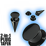 2 in 1 Plug Expander Stretching Set - Black