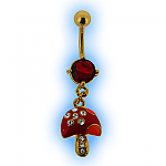 Gold Plated Magic Mushroom Dangly Belly Bar