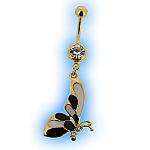 Gold Plated Deco Butterfly Dangly Belly Bar