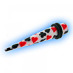 Acrylic Expander Taper for Stretched Ear Lobes - Playing Cards