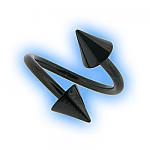 Titanium Black PVD Twister Spiral & Cones - 1.2mm (16G)