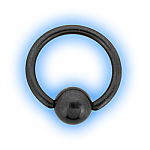 1.6mm (14g) Titanium Black PVD Ball Closure Ring - Plain Ball