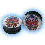 Acrylic Screw Plug Candy Skull