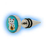 Fake Ear Taper Stretcher - Lucky Cat