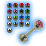 Titanium 1.2mm (16g) Labret Stud & Jewelled Ball