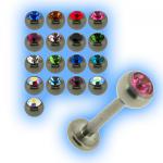 Titanium 1.2mm (16g) Labret Stud & Jewelled Ball
