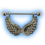 Clear Jewelled Angel Wing Hanging Nipple Shield