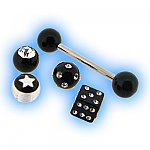 Interchangeable Tongue Bar - Black Acrylic Value Set