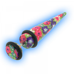 8mm Look Fake Ear Taper Stretcher - Floral Design