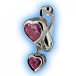 Clip on Belly Ring Pink Heart Duo