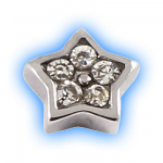 Stainless Steel Screw On Jewelled Star - 1.6mm (14g)