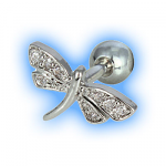 Clear Jewelled Dragonfly Ear Tragus Bar