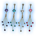 Multi Jewelled Splat Dangle Belly Bar