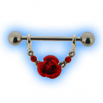 Red Rose and Gems Jewelled Nipple Stirrup Dangle