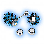 Blue Black Koosh Vibrating Tongue Stud - Vibrating Tongue Bar