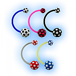 Bioplast Belly Bar with Acrylic Polka Dot Pattern Ball