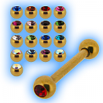 Gold Plated Jewelled Barbell - 1.2mm (16G)