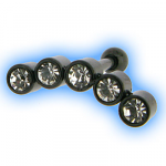 Black PVD Ear Piercing Barbell - Multi Jewelled - Clear