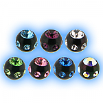 Black PVD Multi Jewelled Ball - 1.2mm (16g)