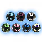 Black PVD Multi Jewelled Ball - 1.2mm (16g)