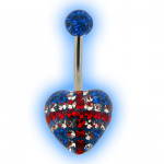 Union Jack England Flag disco heart belly bar