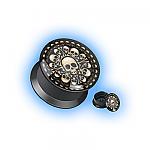Acrylic Ear Plug Screw Front - Bones
