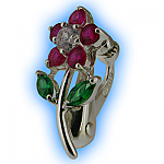 Clip on Belly Ring Jewelled Daisy Fuchsia