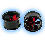 Black Ear Tunnel with Red Spinning Pin Wheel